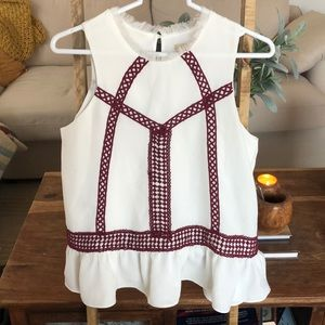 Anthropologie Moon River Embroidered Top